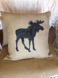 Burlap Moose Pillow Lodge Decor Rustic Throw Accent