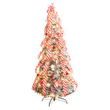 6 Ft Candy Cane Frosted Pull Up Tree By NorthwoodsTM