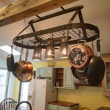 hanging pot rack with lights pinteres ideas kitchen trends
