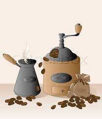 Coffee Grinder Cezve Beans And Bag Vector