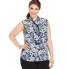 jones new york collection plus size sleeveless floralprint ruffled