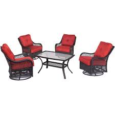 Patio Furniture Conversation Sets Home Depot by Hanover Orleans 5 Piece Wicker Patio Conversation Set With Autumn