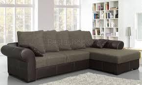 canapé grand angle canapé d angle convertible lit avec coffre bimatière en tissu brun