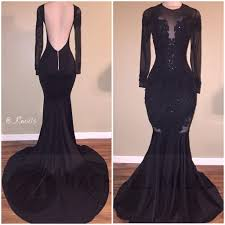 black lace mermaid prom dresses 2017 crew neck long sleeves