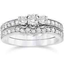 3 4ct Three Stone Vintage Diamond Engagement Wedding Ring Set 10K