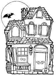 House Coloring Pages Spooky And Haunted Day Page