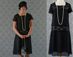 Black Flapper Dress With Chiffon And Lace Flutter
