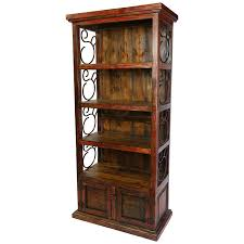Rustic Red Painted Wood Book Shelf With Iron Scrolls And Panel Doors This Bookshelf Scroll Work Sides Lower Storage Cabinet