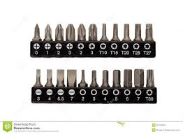 set of interchangeable heads for a screwdriver stock photo image
