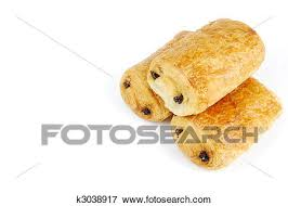 Three Fresh Pain Au Chocolat Isolated On White Background