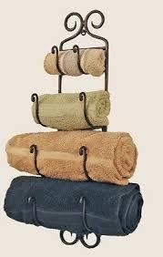 Tuscan Style 27 Rustic Wrought Iron Bath Towel Rack Tuscany Bathroom Wall Decor