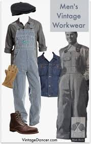 Mens Vintage Workwear 1900 1940s Striped Overalls Wool Flannel Shirt Denim