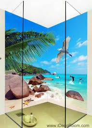 Wall Mural Decals Beach by 3d Wallpaper Tropical Sea Rock Beach Fish Beach Wall Murals