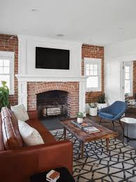 100 Brick Walls In Homes Rafterhouse Bungalow Seating Area With Exposed Brick Walls And Firep