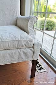 Custom Dining Room Chair Slipcover In Embroided Muslin Fabric Waverly Candlewicking Classic Natural