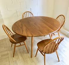 Mid Century Vintage Ercol Table No. 384 And 4 Dining Chairs No. 370