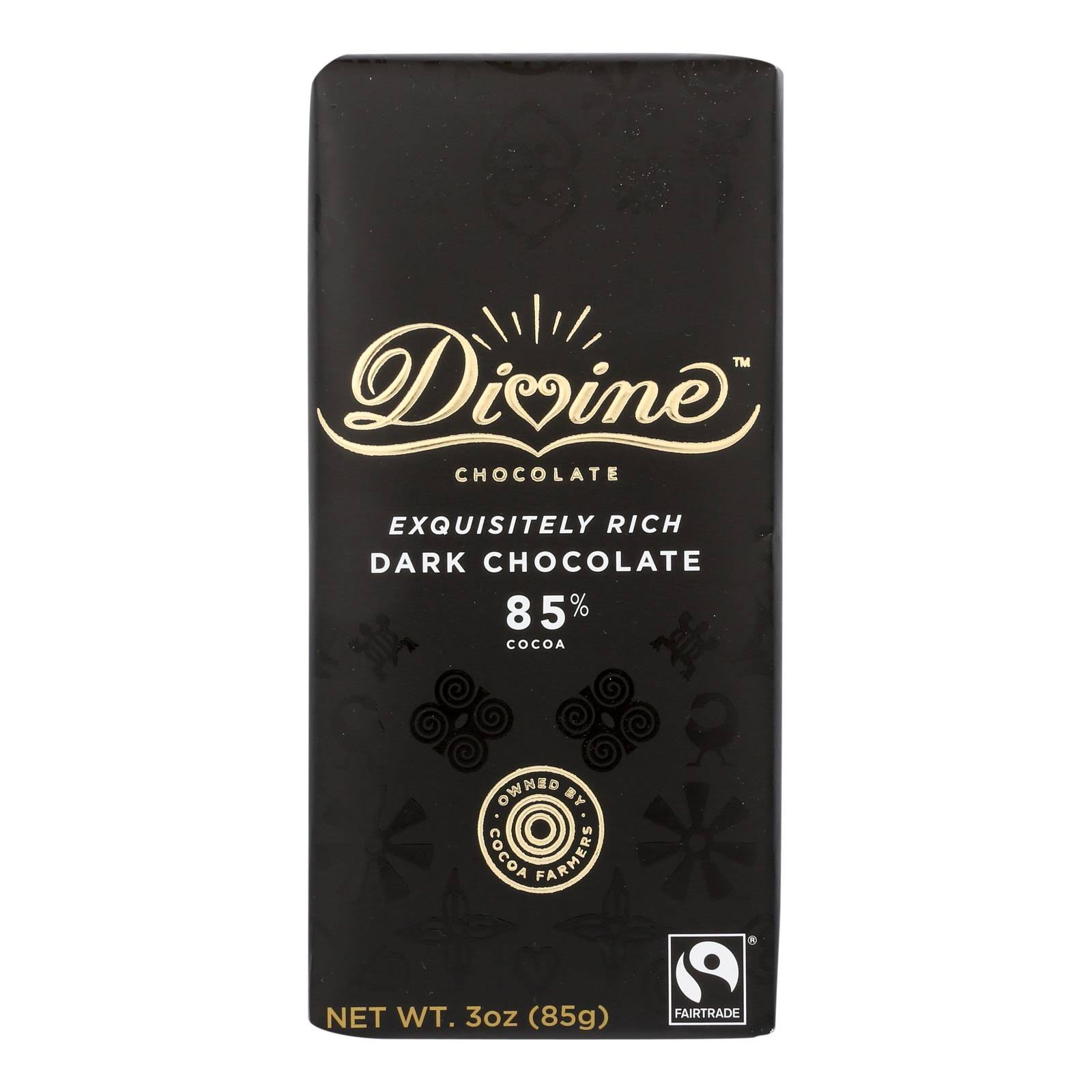 Divine Chocolate 85% Dark Bar 3 oz