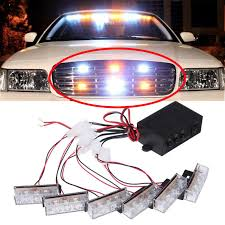 6×3 AMBER/WHITE LED Emergency Grille Vehicle Strobe Lights (3 ...