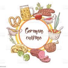 traditionelle deutsche küche gezeichnete doodle deutschlandcuisinemenüvorlage essen und trinken vektorillustration stock vektor und mehr
