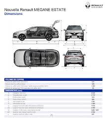 volume coffre megane estate 28 images dimensions megane estate