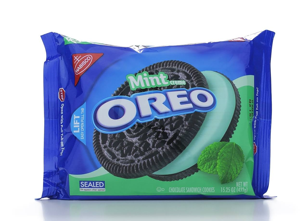 Nabisco Oreo Chocolate Sandwich Cookies - Mint Creme, 432g