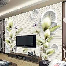 großhandel moderne einfache warme wohnzimmer tv wandtapete nahtlose vliestapete pastoralen lilie 3d fresko andyhome andyhome88 21 35 auf