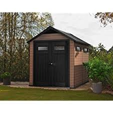 Keter Storage Shed Shelves by Amazon Com Keter Fusion Large 7 5 X 9 Ft Wood U0026 Plastic Outdoor