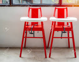Red High Wooden Chairs For Twin Baby For Feeding Food For Children..