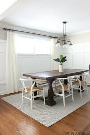 Dining Room With Light Walls Board And Batten Cream Curtains