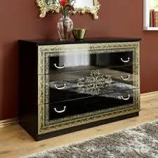 details zu schubkastenkommode schrank schwarz hochglanz gold schlafzimmer kommode eliza