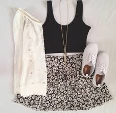 Skirt Summer Outfits Skater Floral Flowers Fall Trend