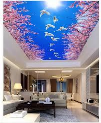 blau sky wald kirsche decke 3d tapete wohnzimmer decken 3d wandmalereien hause dekoration