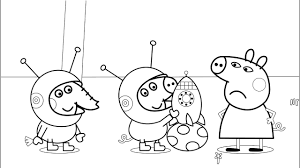 Rocket Peppa Pig Coloring Pages With Colored Markers
