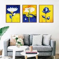 blau gelb aquarell blume leinwand malerei studie wohnzimmer schlafzimmer kunst druck dekorative malerei bilder