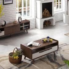 details zu modern coffee table 2 drawers storage high gloss mdf living room wood furniture