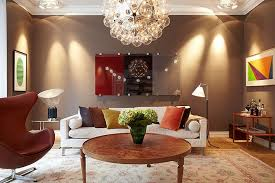 brown living room decorating ideas with beautiful tracking light