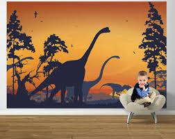 Dinosaur Landscape Blue And Orange Easy Up Mural