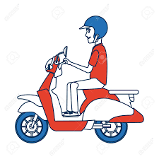 Delivery Boy Ride Scooter Motorcycle Service Order Shipping Vector Illustration Stock