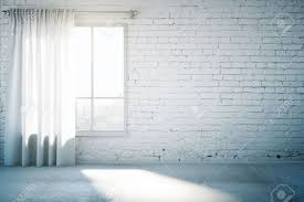 Blank Brick Wall In White Loft Design Room With Window Curtain