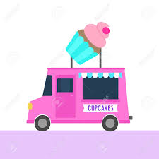 100 Cupcake Truck With S Street Food Vector Hand Drawn Illustration