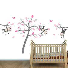 Wall Mural Decals Cheap by And Gray Jungle Wall Mural With Monkey Decals For Girls Bedrooms