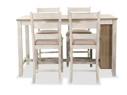 Five-Piece Casual Storage Pub Table And Barstool Set In ...