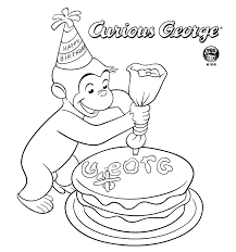 Printable Coloring Pages Of Curious George Make Cake