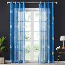 topfinel voile vorhänge mit ösen planet sterne mustern dekoschal lange gardine für kinderzimmer fenster schlafzimmer 2er set 160x140cm hxb blau