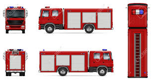 100 Fire Truck Template Vector Mockup Isolated Of Red Lorry On