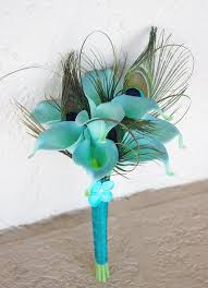 Turquoise Aqua Mint Wedding Flower Bouquet Peacock Feathers and