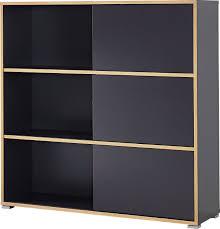 schiebetürregal slide als attraktives büromöbel anthrazit sonoma eichefarbene kunststoffoberflächen sechs fächer ca