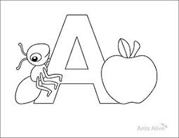 Free A Is For Ant Coloring Page Kids