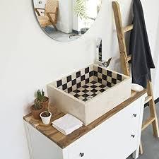 wohnfreuden marmor waschbecken mit schachbrettmuster 50 cm