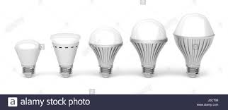 different types of led light bulbs on white background stock photo